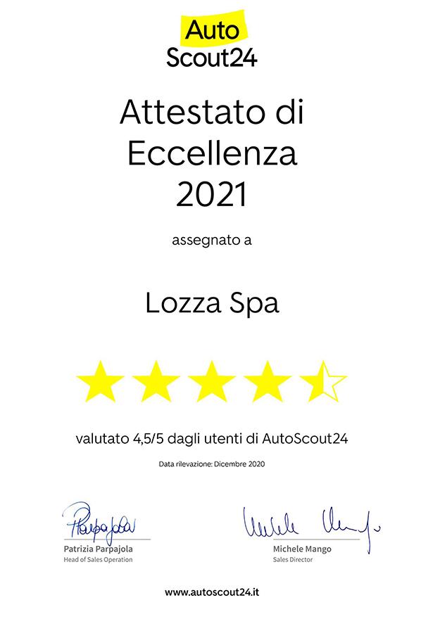 Attestato di Eccellenza AutoScout24 2020 - LOZZA SpA